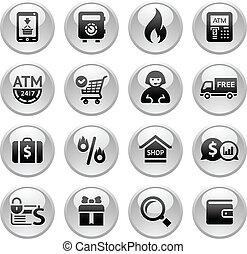 bevásárlás, ikonok, szürke, gombok, új