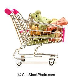 bevásárlás, kutya, kezel