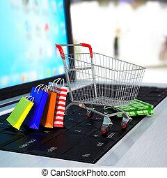bevásárlás, laptop., kordé, dobozok, e-commerce.,...