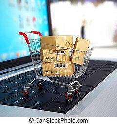bevásárlás, laptop., kordé, dobozok, e-commerce., ...
