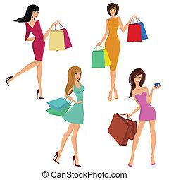 bevásárlás, leány, számolás