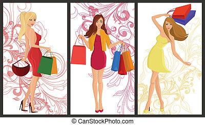bevásárlás, leány, transzparens