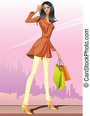 bevásárlás, mód, lány