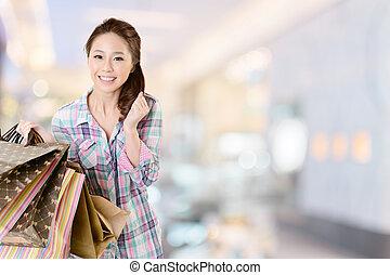 bevásárlás, nő