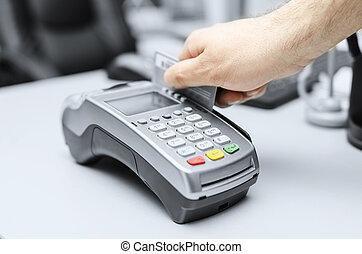 bevásárlás, payment., hitel, tartozás, jelszó, kártya