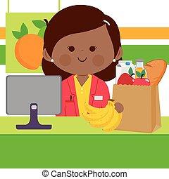 bevásárlás, pult, groceries., ábra, táska, töltelék, vektor, élelmiszer áruház, munkavállaló, elülső, számítógép