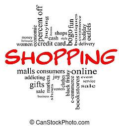 bevásárlás, szó, felhő, fogalom, alatt, piros, &, fekete