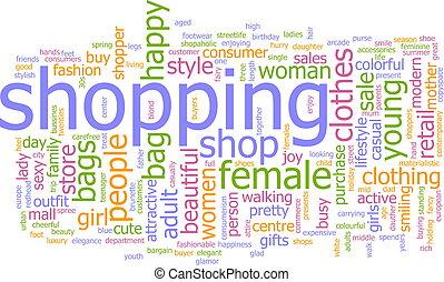 bevásárlás, szó, felhő