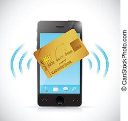 bevásárlás, telefon, concept., hitel, furfangos, kártya