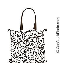 bevásárlás, virágos, táska, tervezés, díszítés