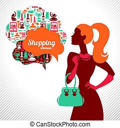 bevásárlás, woman., elegáns, tervezés, finom