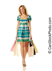 bevásárlás, woman jár