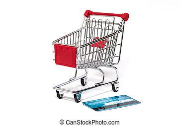 bevásárlókocsi, és, hitelkártya
