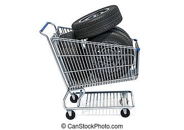 bevásárlókocsi, noha, autó, tol, 3, vakolás
