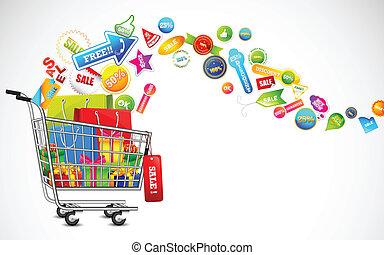 bevásárlókocsi, tele, közül, kiárusítás, termék
