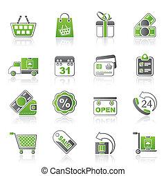 bevásárol online, ikonok