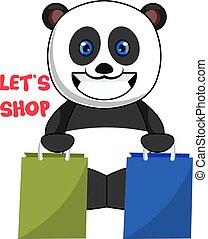 bevásárol táska, ábra, háttér., vektor, fehér, panda
