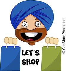 bevásárol táska, ábra, muzulmán, háttér., vektor, emberi, fehér, emoji