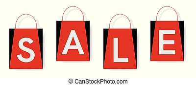 bevásárol táska, szöveg, kiárusítás, háttér., fehér
