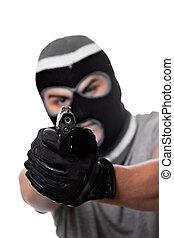 beväpnat, brottsling, med, a, gevär