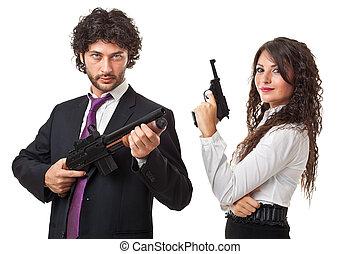 beväpnat, för, affär