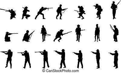 beväpnat, män, silhouettes