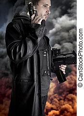 beväpnat, man, fond, med, explosion, av, eld, och, röka, polis