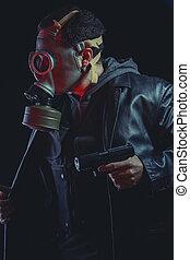beväpnat, man, med, gas maskera, och, gevär