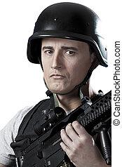beväpnat, militär, in, skyddande, tunna, med, a, vapen
