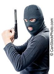 beväpnat, och, mycket, farlig, mördare, in, a, balaclava, på, a, vit fond