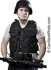 beväpnat, polis, in, skyddande, tunna, med, a, gevär