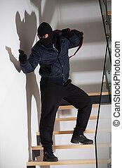 beväpnat, rånare, på, trappa