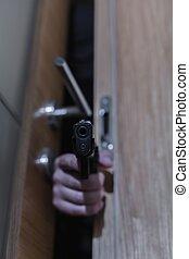 beväpnat, rånare, pekande gevär