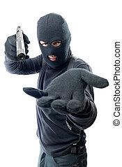 beväpnat, rånare, requires, pengar, och, mål, hos, den, kamera