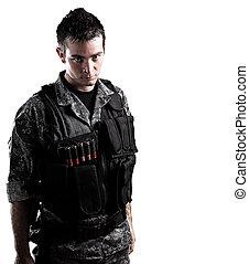 beväpnat, soldat