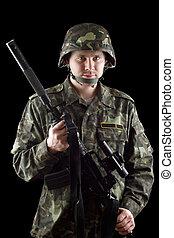 beväpnat, soldat, gripande, m16