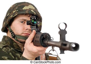 beväpnat, soldat, hålla, svd