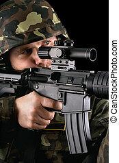 beväpnat, soldat, intagande inrikta