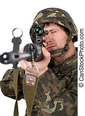 beväpnat, soldat, med, svd