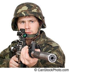 beväpnat, soldat, pekande, m16