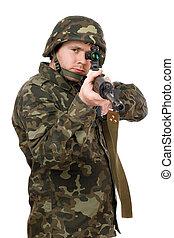 beväpnat, soldat, sikta, svd