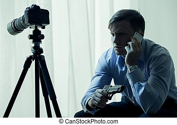 beväpnat, stalker, blackmailing, hans, offer