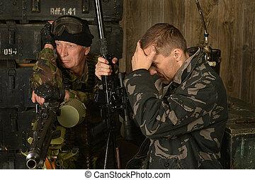 beväpnat, strid, tjäna som soldat