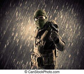 beväpnat, terrorist, man, med, maskera, på, regnfall, bakgrund