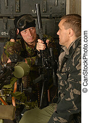 beväpnat, tjäna som soldat, in, ammunition