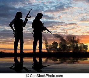 beväpnat, två, TERRORISTER