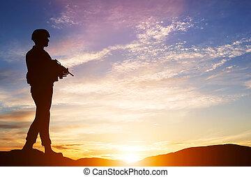 bevæbnet, soldat, hos, rifle., garden, hær, militær, war.