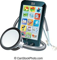 bevægelig telefoner., begreb, sundhed
