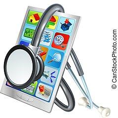 bevægelig telefoner., begreb, sundhed, reparer