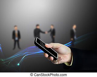 bevægelig telefoner., hos, hånd